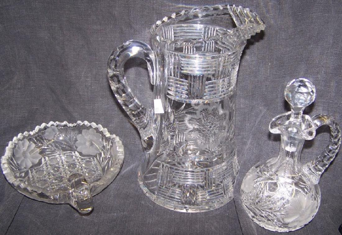 *3 PIECES OF CUT GLASS