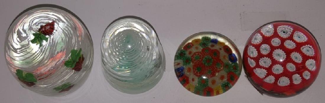 *4 ART GLASS PAPERWEIGHTS