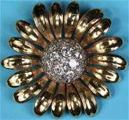 YELLOW GOLD AND DIAMOND PIN