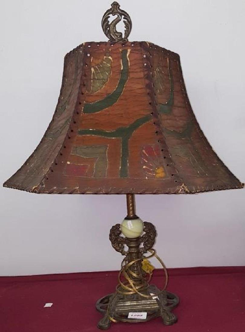 *ONYX AND BRASS TABLE LAMP