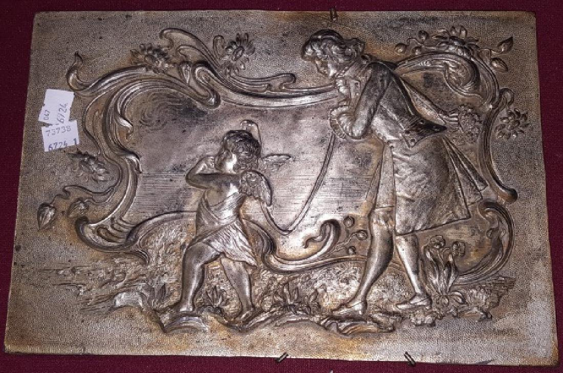 *SILVERED METAL RELIEF PLAQUE