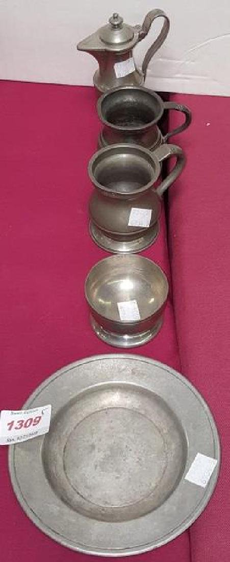 *5 PIECES OF 19TH C. PEWTER