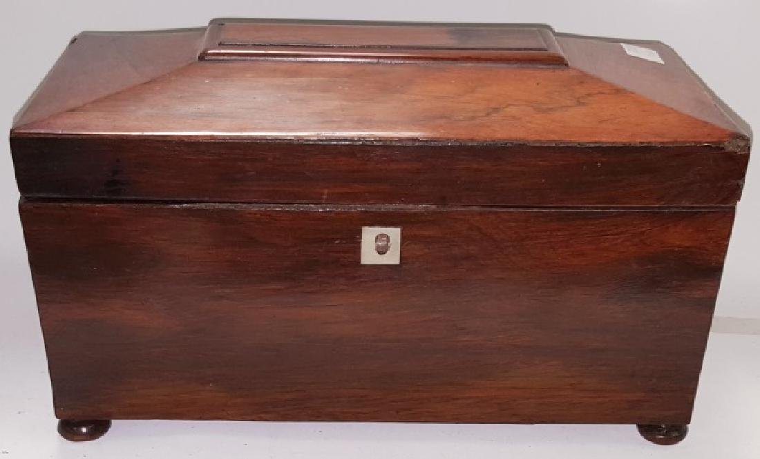 *EARLY 19TH C. ROSEWOOD TEA CADDY