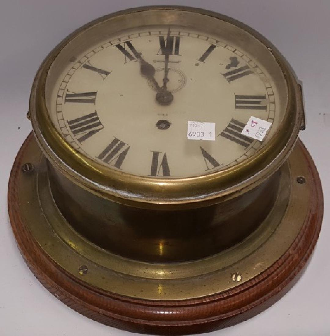 *19TH C. BRASS AND WOOD SHIP'S CLOCK