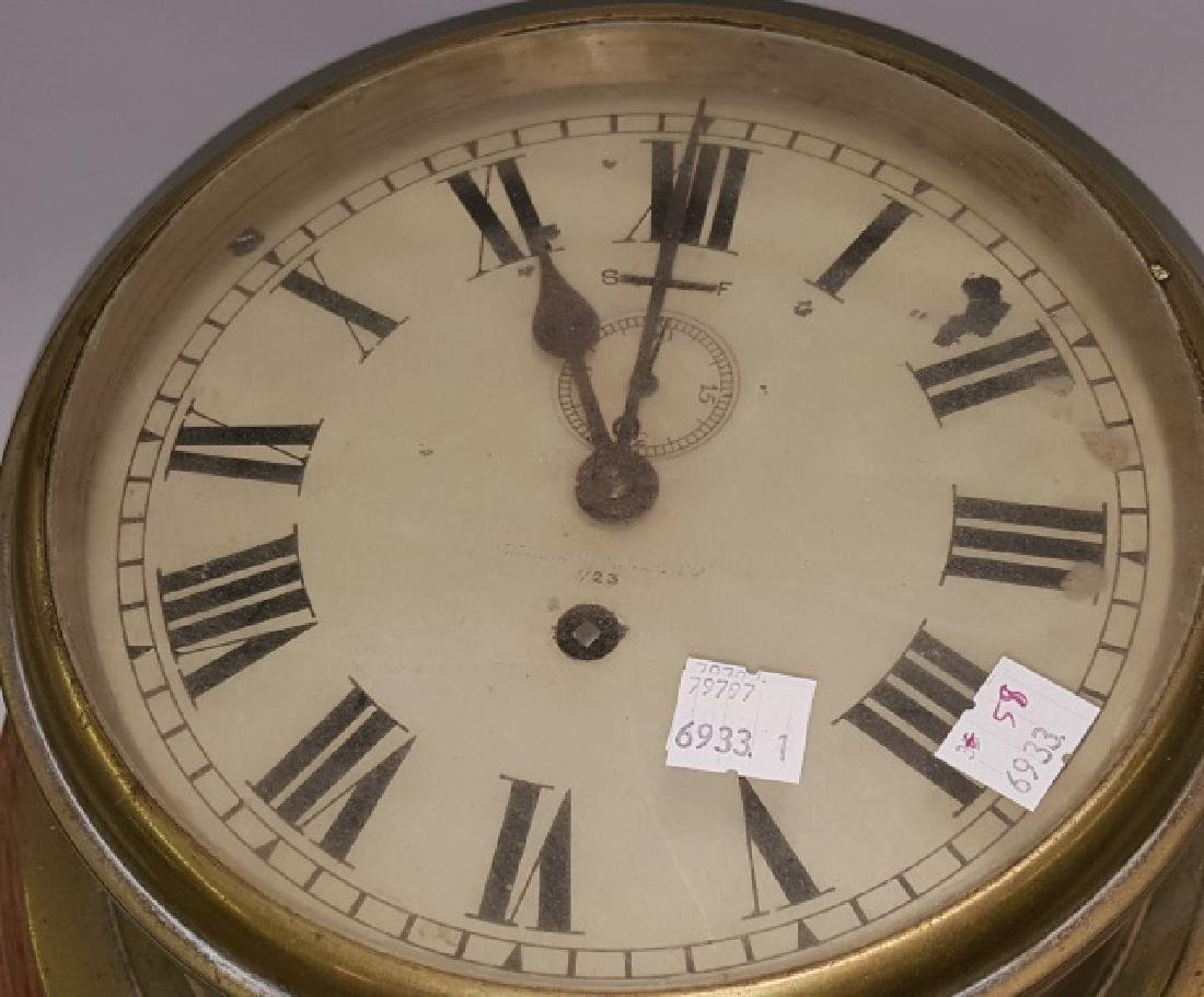 *19TH C. BRASS AND WOOD SHIP'S CLOCK - 2
