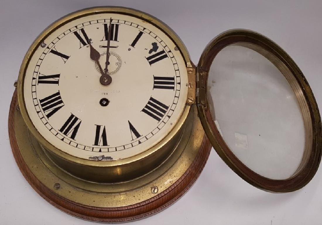 *19TH C. BRASS AND WOOD SHIP'S CLOCK - 4