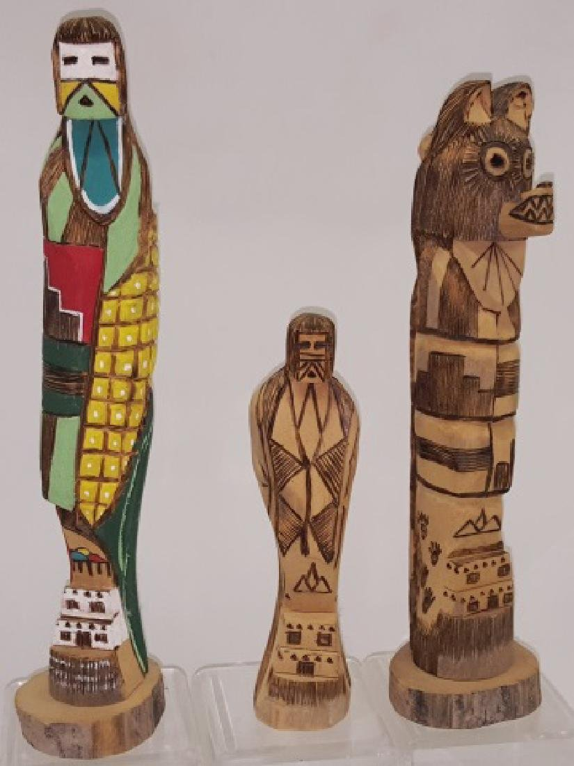 *3 CARVED WOOD HOPI KACHINAS