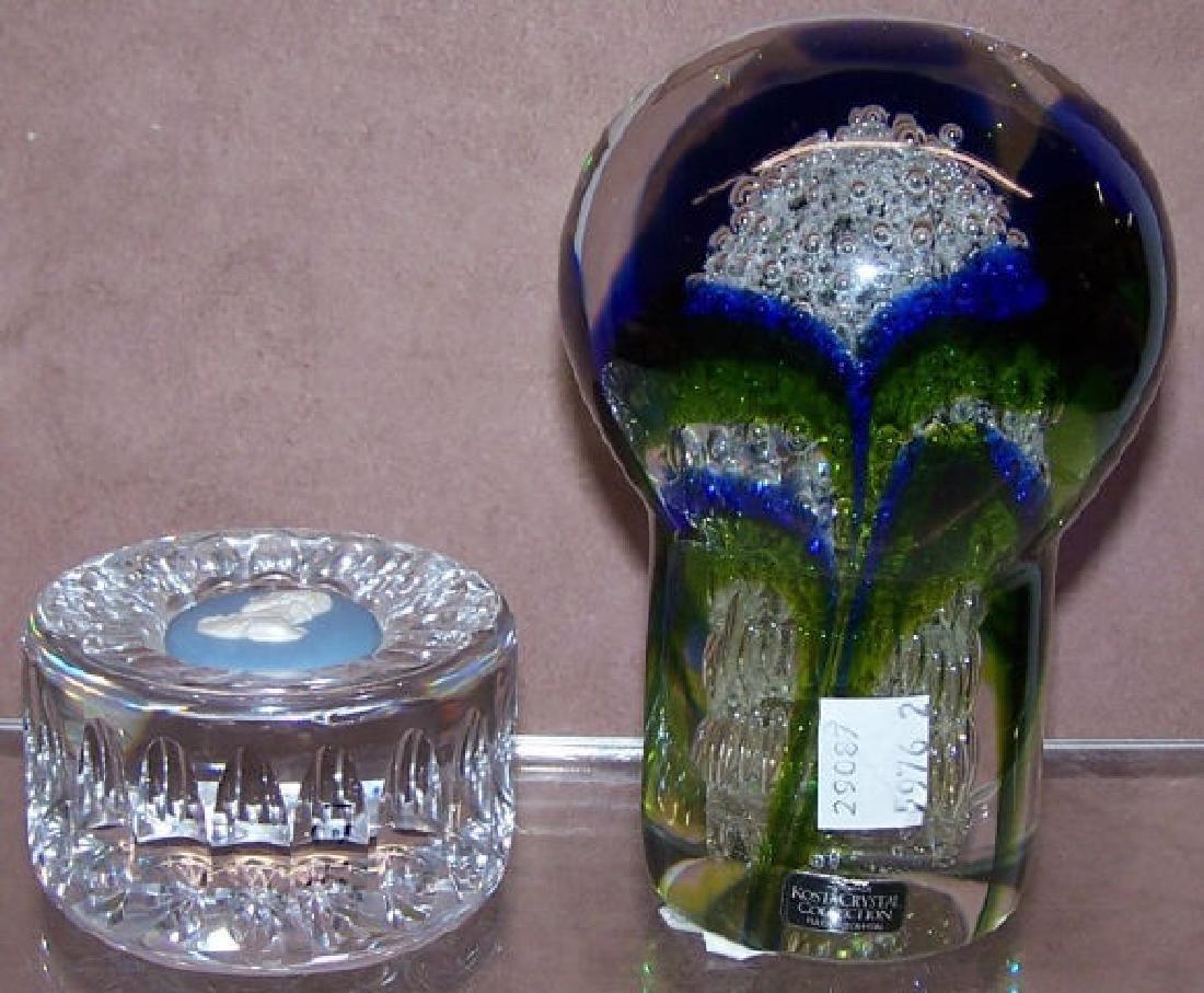 *2 ART GLASS PAPERWEIGHTS