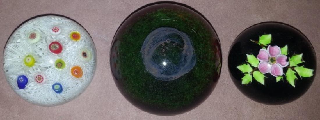 *3 ART GLASS PAPERWEIGHTS