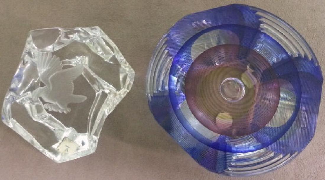 *2 ART GLASS PAPERWEIGHTS - 2