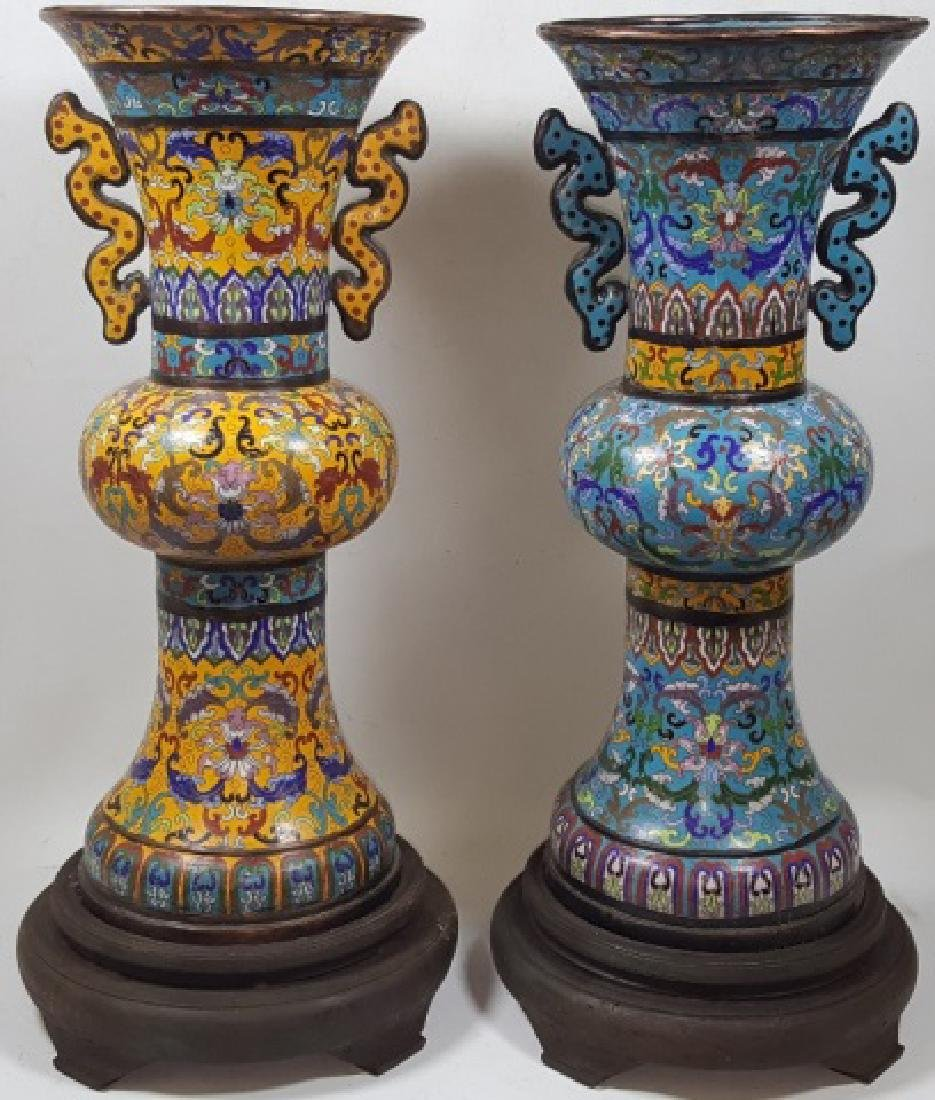 *PAIR OF CHINESE CLOISONNE VASES