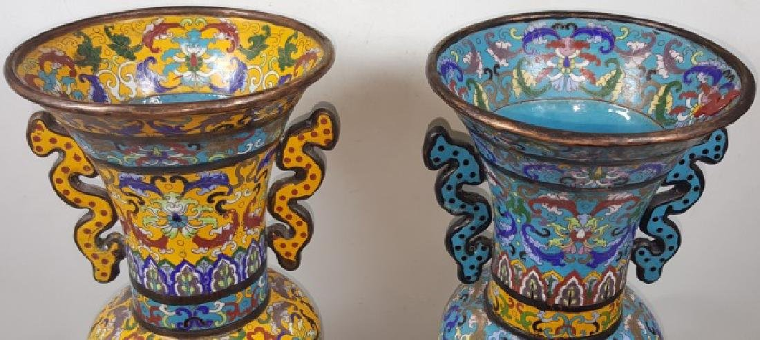 *PAIR OF CHINESE CLOISONNE VASES - 3