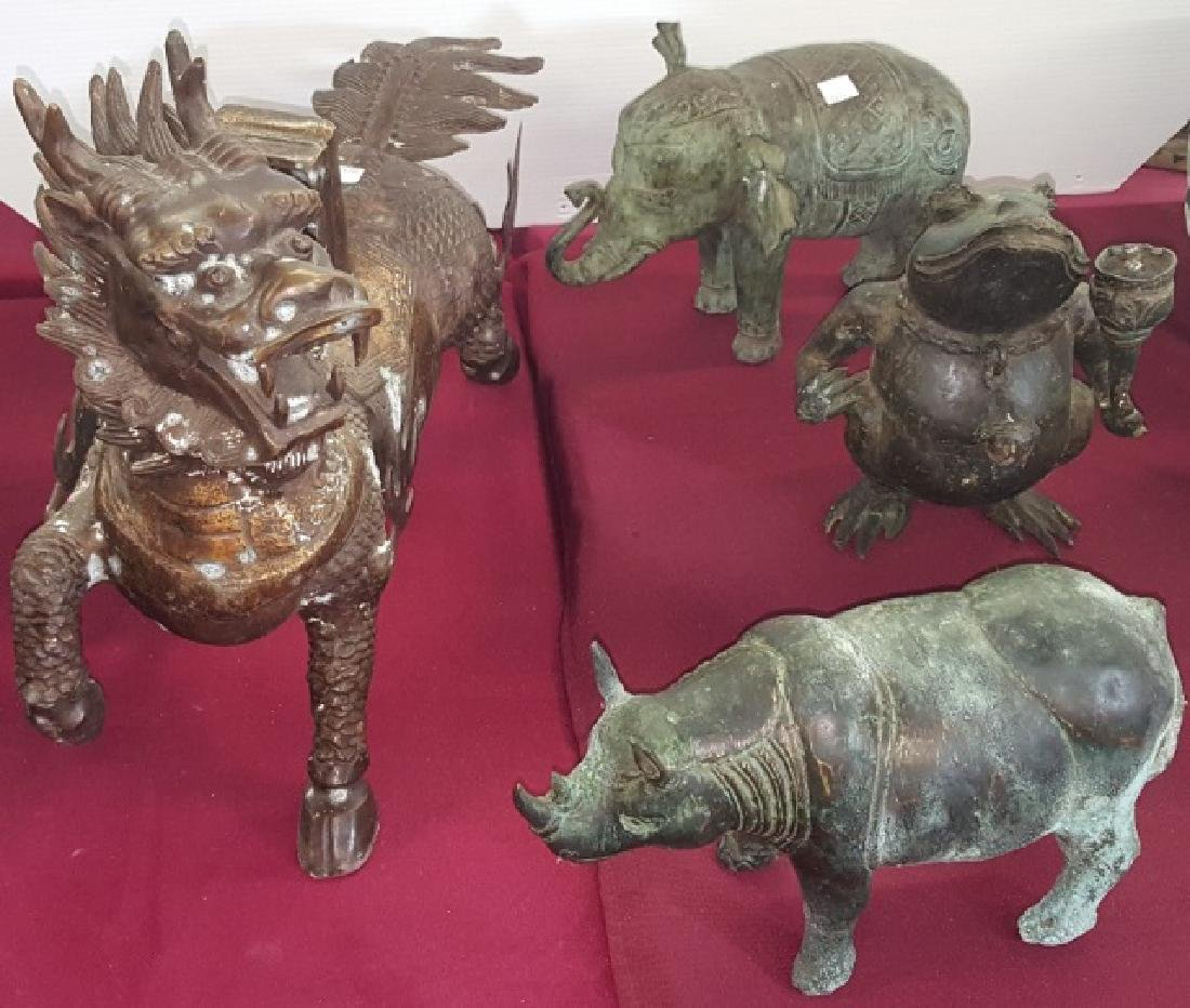 *4 CHINESE METAL SCULPTURES