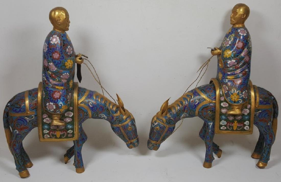 *PAIR OF CHINESE CLOISONNE SCULPTURES