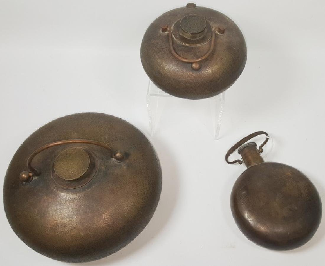 *3 CHINESE BRONZE CANTEENS