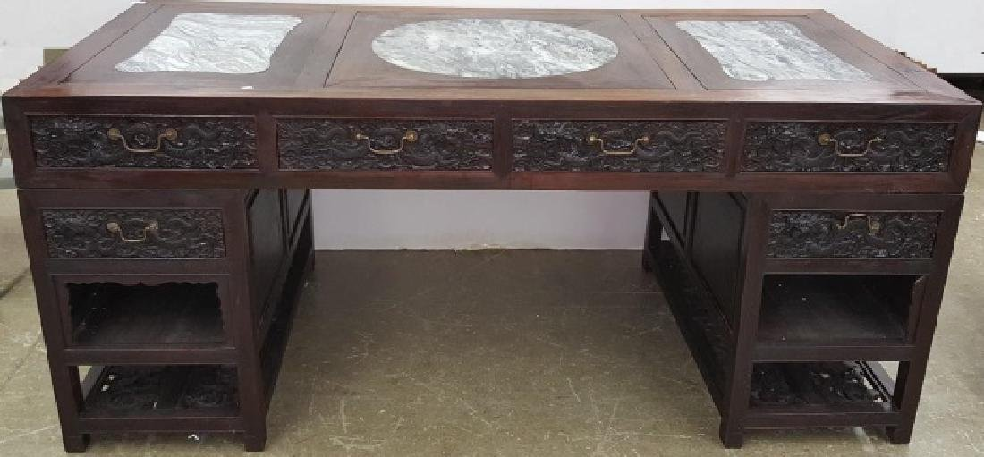 *CHINESE CARVED WOOD PARTNERS DESK