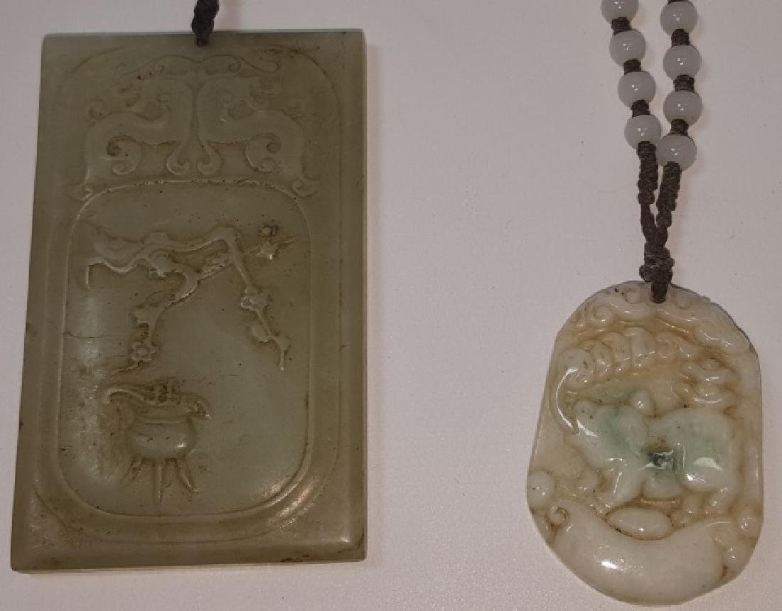 2 ORIENTAL CARVED STONE NECKLACES