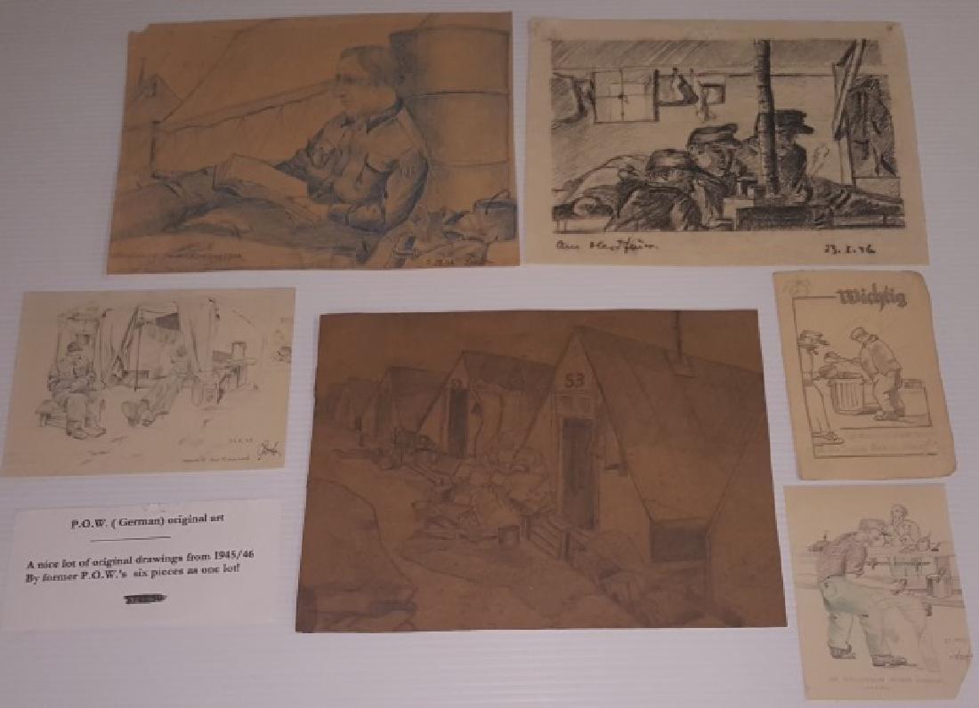 *GROUP OF ORIGINAL GERMAN P.O.W. ART