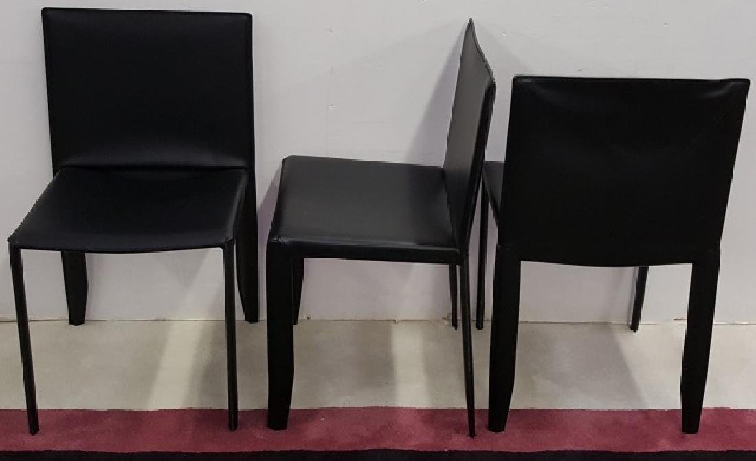 *5 CATTELAN ITALIA BLACK LEATHER DINING CHAIRS