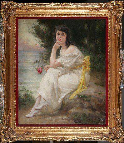 1479: ***SEIGNAC, G. | ''Woman and Red Rose'', framed o