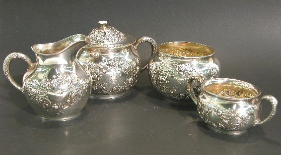 1004: ***FOUR PIECES OF GORHAM STERLING SILVER HOLLOW W