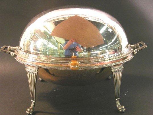 1015: ***SILVERPLATE SERVER| Having revolving domed lid