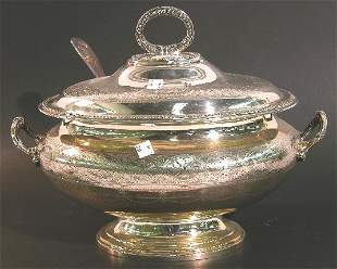 ***ENGLISH SILVERPLATE TWO HANDLED COVERED TUREEN
