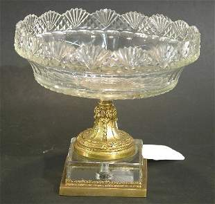 FRENCH CUT CRYSTAL AND GILT BRONZE COMPOTE| Havin