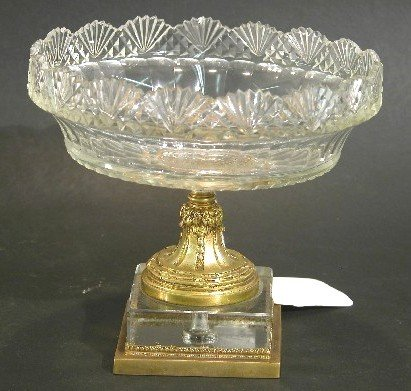 1022: FRENCH CUT CRYSTAL AND GILT BRONZE COMPOTE| Havin