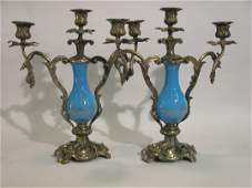 1078 PAIR OF FRENCH BLUE OPALINE GLASS AND BRONZE MOUN
