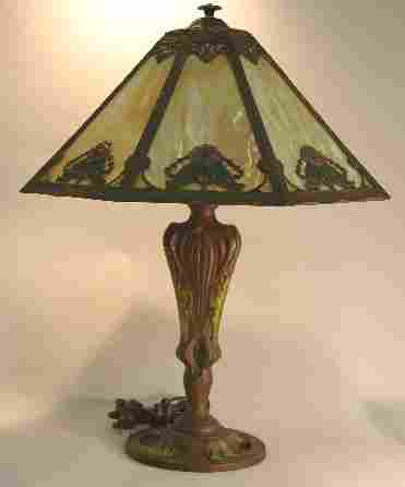 RAINAUD ART NOUVEAU SLAG GLASS TABLE LAMP| Fitted
