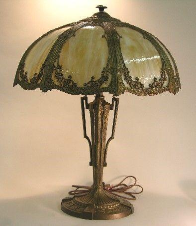 ***RAINAUD ART NOUVEAU SLAG GLASS TABLE LAMP| Fit
