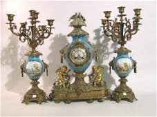 1147: ***FRENCH THREE PIECE CLOCK SET  Comprised of a b
