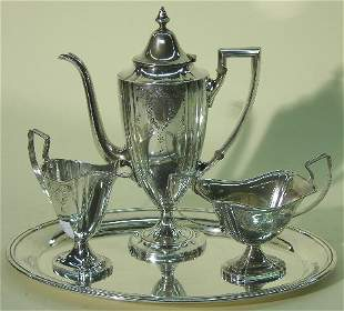 ***WEBSTER CO. STERLING SILVER FOUR PIECE COFFEE