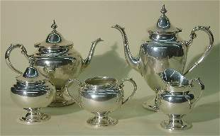 ***SIX PIECE STERLING SILVER COFFEE AND TEA SERVI