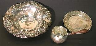 ***THREE PIECES OF STERLING SILVER  Sauce bowl wi