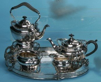 2005: ***FOUR PIECE SILVERPLATE COFFEE AND TEA SERVICE|