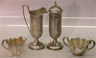 ***FOUR PIECES OF STERLING SILVER  Creamer, sugar