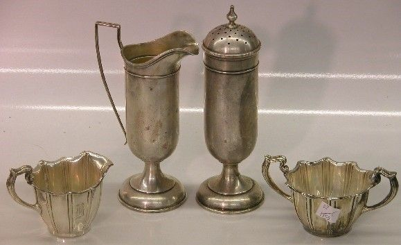 ***FOUR PIECES OF STERLING SILVER| Creamer, sugar