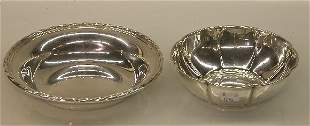 TWO PIECES STERLING SILVER  Comprising a shallow