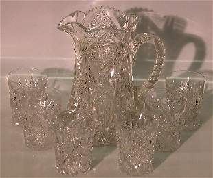 ***SEVEN PIECE HAWKES CUT GLASS BEVERAGE SET  Com