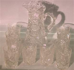 ***ELEVEN PIECES OF CUT GLASS  Pitcher height 10'