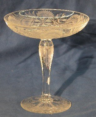 2019: CUT AND ETCHED GLASS COMPOTE| Having floral and l