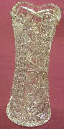 AMERICAN BRILLIANT CUT GLASS VASE  Approximately