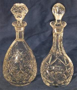 TWO CUT AND ETCHED CRYSTAL DECANTERS  Approximate