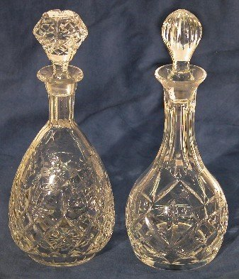 2021: TWO CUT AND ETCHED CRYSTAL DECANTERS| Approximate