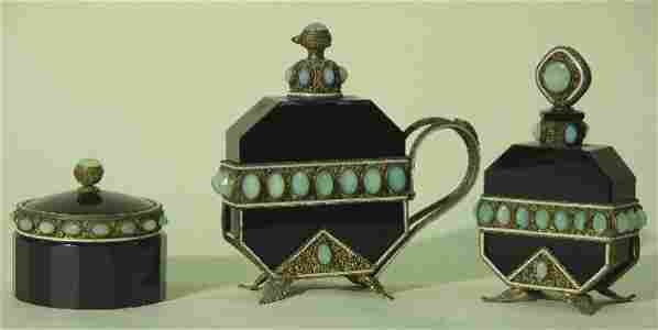2216: THREE PIECE BLACK AMETHYST GLASS AND BRASS DRESSE