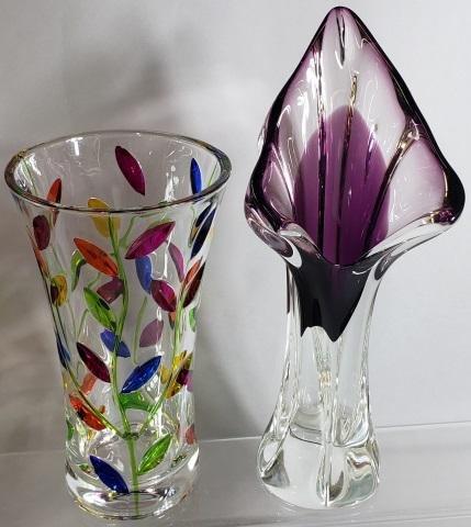 *2 ART GLASS VASES