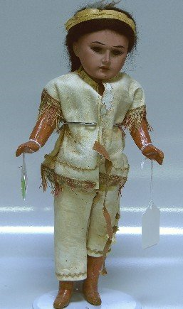 18: ARMAND MARSEILLE BISQUE HEAD INDIAN DOLL| Having op