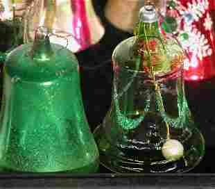 ***GROUP OF GLASS BELL ORNAMENTS| Some with appli